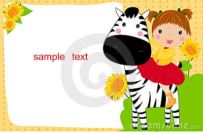 Little child on a zebra