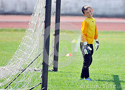 Little children goalkeeper reaction Editorial Photography