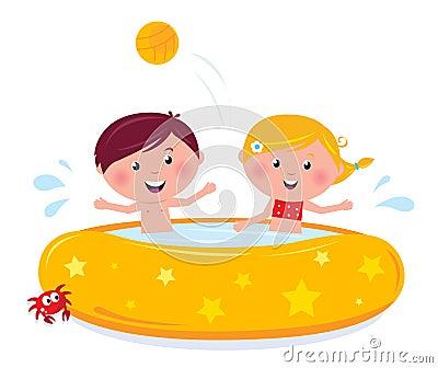 Little children splashing in the swimming pool