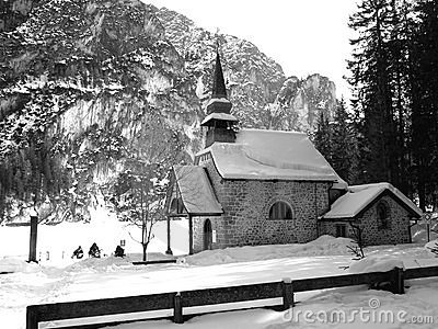 Little church on the frozen lake