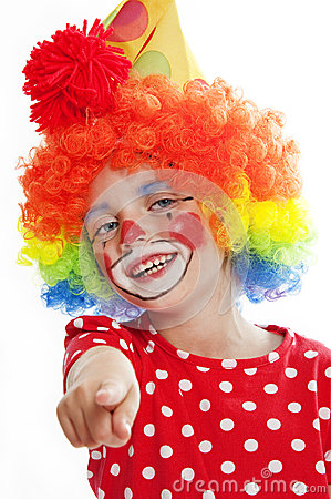 Little clown pointing on you