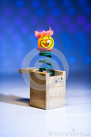 Little clown surprize from wood box