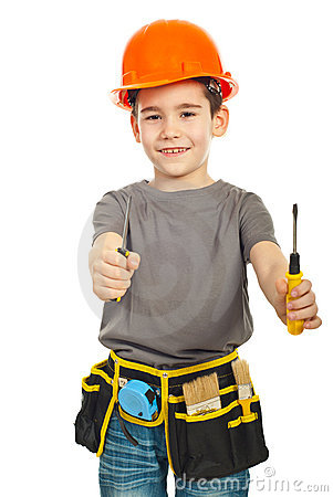 Free Little Constructor Boy Giving Screwdrivers Royalty Free Stock Image - 18829926