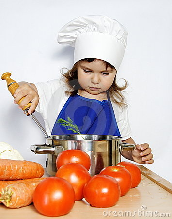 Little Cook Girl Preparing Food