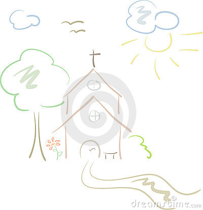 Little country church in pastels