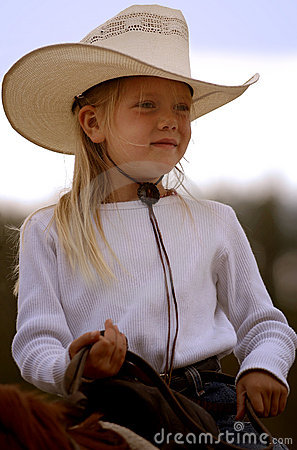Little Cowgirl on Horseback #1