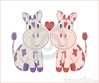 Little cows Vector Illustration