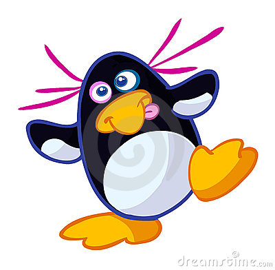 Little crazy funny penguin