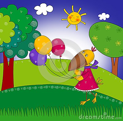 Little crow with balloons. Cartoon