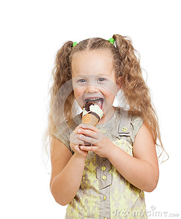 Little curly girl eating ice cream isolated