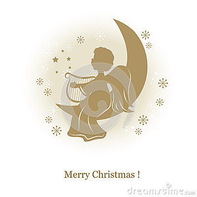 Little cute angel with harp on a moon