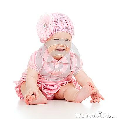 Little cute baby-girl  in pink dress