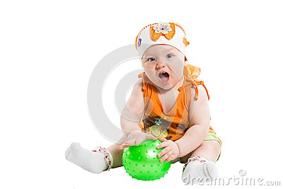 Little cute child girl with ball isolated on white background.