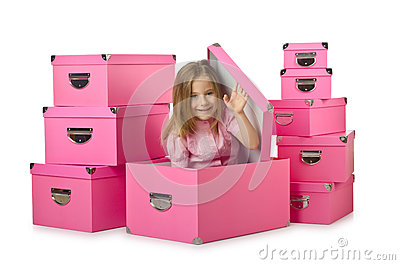 Little cute girl with boxes
