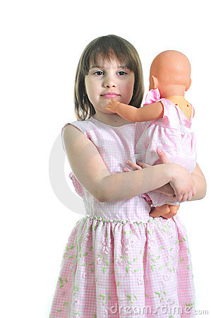 Little cute girl with doll