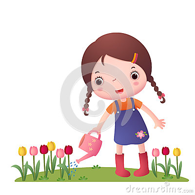 Free Little Cute Girl Watering Flowers Stock Images - 55185824