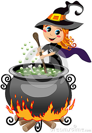 Little Cute Halloween Witch Preparing Potion