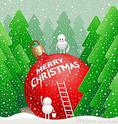 Little cute snowman write a greeting