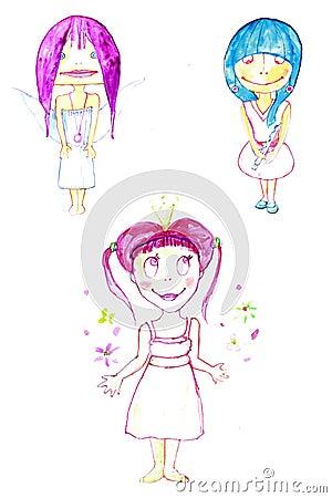 Little cute tree fairies smiling
