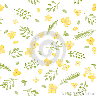 Free Little Cute Watercolor Flowers And Leaf Seamless Pattern. Stock Photo - 58171850