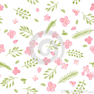 Free Little Cute Watercolor Flowers And Leaf Seamless Pattern. Royalty Free Stock Photo - 61388435