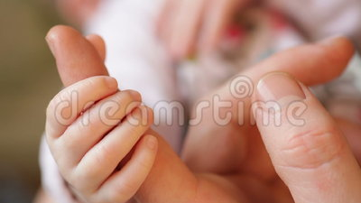 Little daughter hand holds daddy big finger stock video footage