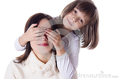 Little daughter hiding mothers eyes