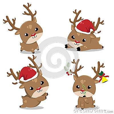 Little deer in christmas day Vector Illustration
