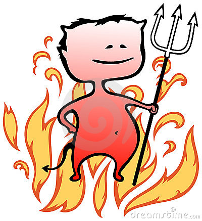 Free Little Devil With Flames In Background - Halloween Royalty Free Stock Photos - 20857898