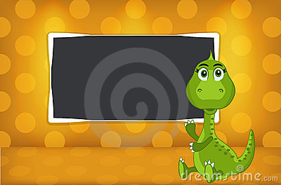 Little dinosaur with school slate
