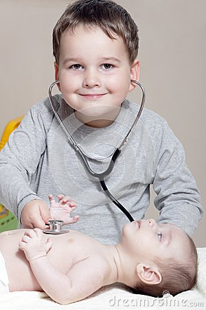 Little doctor with stethoscope