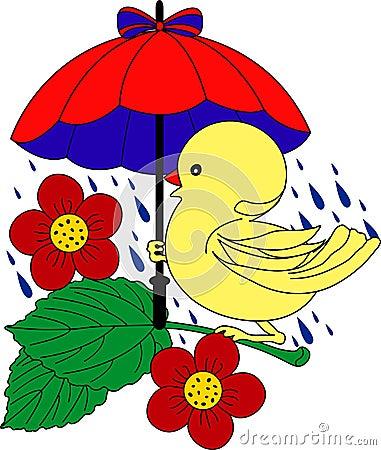 Little Duck under umbrella in rain