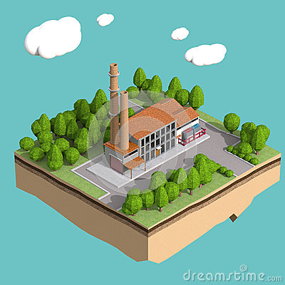 Free Little Factory With Chimneys Surrounded By Trees On Small Island  Fluffy Stylized Clouds Isolated Blue Background. Stock Photo - 67283920