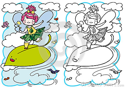 Little fairy for coloring