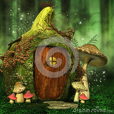 Free Little Fairy House With Mushrooms Stock Photos - 41218573