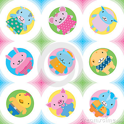 Little farm animals seamless pattern