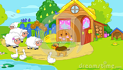 Little farm with cute animals. Cartoon illustratio