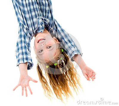 Free Little Fgirl Hanging Upside Down Royalty Free Stock Photo - 111136785