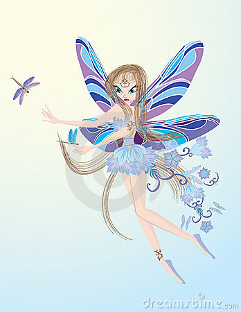 Little flying fairy playing with dragonfly