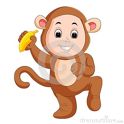 Free Little Funny Baby Wearing Monkey Suit Stock Photography - 100904072