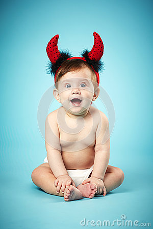 Free Little Funny Baby With Devil Horns Stock Photography - 30117912