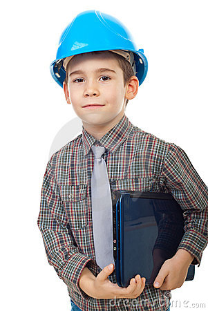 Little future architect holding notebook