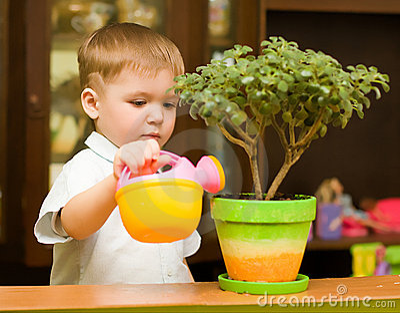 Little gardener boy