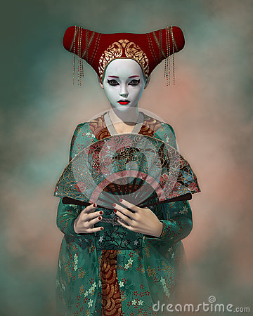 Free Little Geisha, 3d CG Royalty Free Stock Photo - 51646175