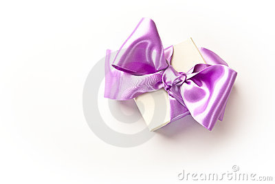 Little gift box with purple bow