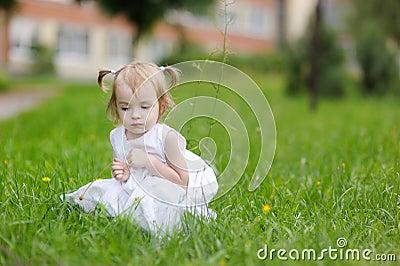 Little gilr in nice white dress