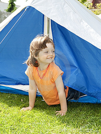 Free Little Girl 3 Years Old Coming Out From A Tent Stock Image - 14670231