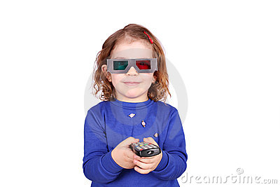 Little girl with 3d glasses
