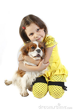 little girl 5 years old and the dog isolated