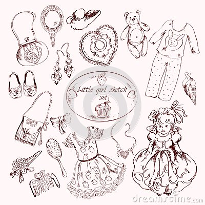 Free Little Girl Accessories Set Doodle Sketch Stock Photo - 45730160